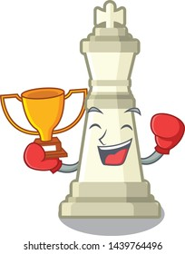 Boxing winner king chess in the cartoon shape