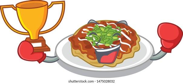Boxing winner okonomiyaki is served on cartoon plate