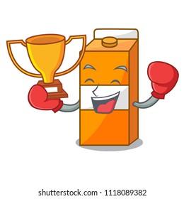 Boxing winner package juice mascot cartoon