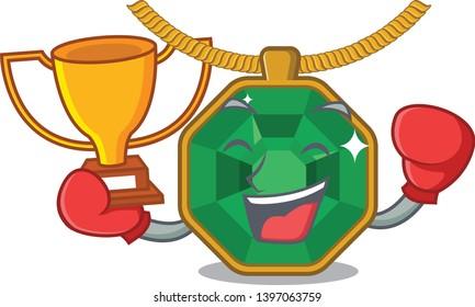 Boxing winner peridot jewelry above the cartoon table