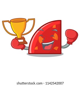 Boxing winner quadrant mascot cartoon style