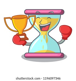 Boxing winner vintage hourglass isolated on the mascot