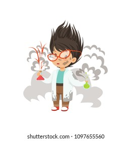 Boy after a failed chemical experiment vector Illustration on a white background