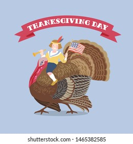 The boy with american flag horseback  on the turkey bird on blue background. Hand vector drawing illustration. Thanksgiving theme. Design element for poster, emblem, sign, card, banner.