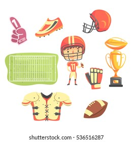 Boy American Football Player, Kids Future Dream Professional Occupation Illustration With Related To Profession Objects