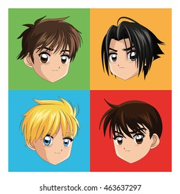 Boy anime male manga cartoon comic icon. Colorfull and frames illustration. Vector graphic