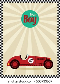 it is a boy announcement card with vintage racing car vector