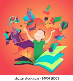 Boy appearing from a book. Concept of reading books being an adventure. Kids imagination, tales, stories, discovery. Children literature colorful bookcover. Vector illustration