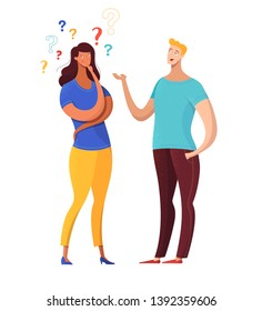 Boy asking girl questions flat vector illustration. Cheerful man talking to confused woman. Thoughtful lady considering offer, options isolated character. Cartoon couple sharing news, secrets