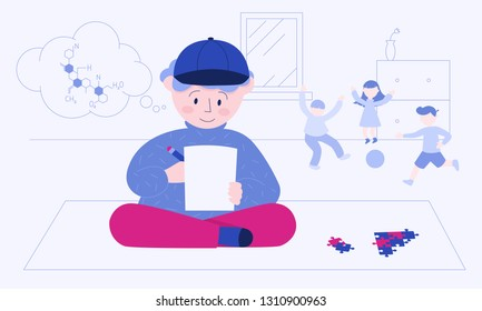The boy with Asperger's syndrome, who's solving chemical reaction equation, while the children are playing ball behind him. Colorful vector illustration for web and printing.