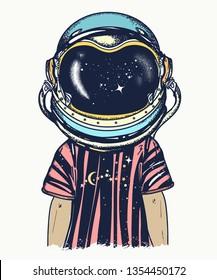 Boy in astronaut helmet. Childhood dreams of future
