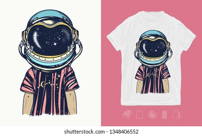 Boy in astronaut helmet. Print for t-shirts and another, trendy apparel design. Childhood dreams of future