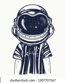 Boy in astronaut helmet. Tattoo and t-shirt design. Symbol of imagination, education, inspiration. Childhood dreams of future