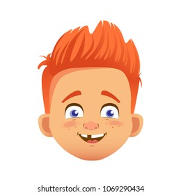 Boy avatar. Facial expression. Redhead boy vector illustration