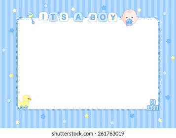 It's a boy baby boy arrival announcement background / party frame