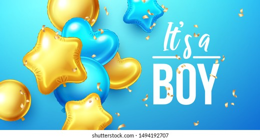 It's a Boy, Baby Shower Birthday background with colorful balloons and falling confetti. Vector illustration.
