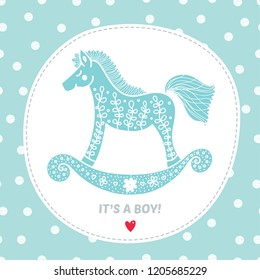 It's a boy. Baby shower celebration.Cute postcard for the birth of a boy.