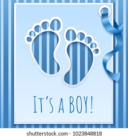 Boy baby shower invitation card whis blue ribbon.