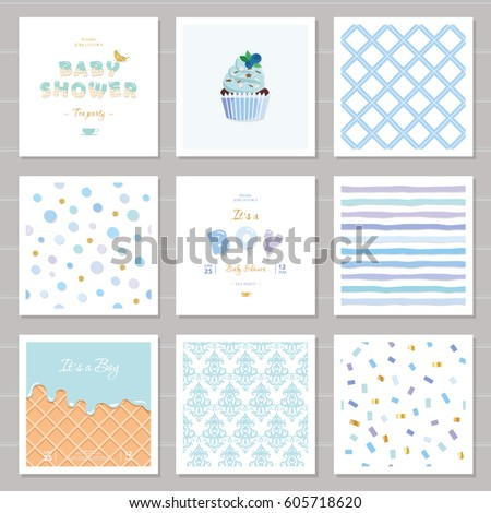 Baby Shower Templates | Boy Baby Shower Templates Seamless Patterns Stock Vector Royalty