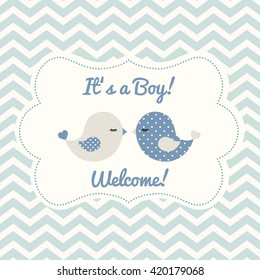 Boy baby shower with two cute blue birds on abstract chevron background, vector illustration, eps 10