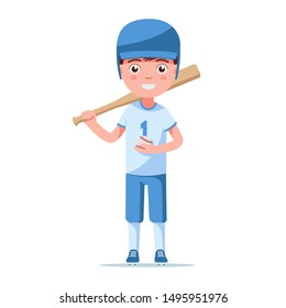 Boy baseball player is in a sports uniform in a helmet with a bat and ball. Little child is standing in baseball ammunition. Vector illustration isolated on white, flat style.