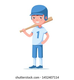 Boy baseball player is standing and holding a bat. Small child in a baseball helmet and a sports uniform is standing with a bat on his shoulder. Vector illustration isolated on white, flat style.