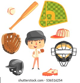 Boy Baseball Player,Kids Future Dream Professional Occupation Illustration With Related To Profession Objects