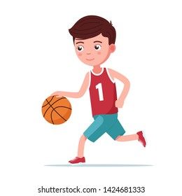 Boy basketball player runs with the ball. Small child plays basketball. Vector illustration isolated on white, side view profile, flat.