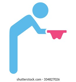 Boy Beggar vector icon. Style is bicolor flat symbol, pink and blue colors, rounded angles, white background.