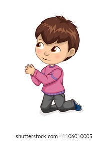 Boy begs for forgiveness or permission on his knees. Little kid in sweater and jeans asks to buy new toys isolated cartoon flat vector illustration.