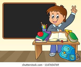 Boy behind school desk theme image 2 - eps10 vector illustration.