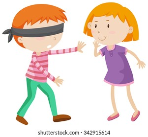 Boy being blind folded illustration