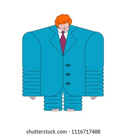 Boy in big suit. Small businessman. Child in his father jacket. Vector illustration