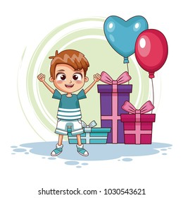 Boy with birthay gifts and balloons