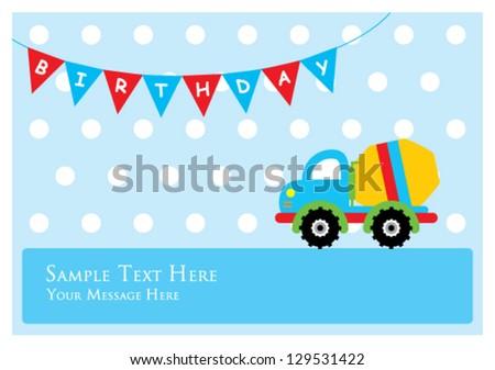 Boy Birthday Card Cute Little Truck Stock Vector Royalty Free