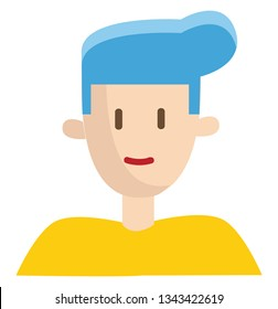 Boy with ble hair vector illustration on white background