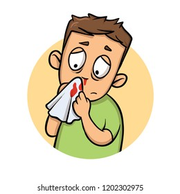 Boy with bleeding nose. Cartoon design icon. Colorful flat vector illustration. Isolated on white background.