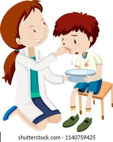A boy bleeding nose  illustration