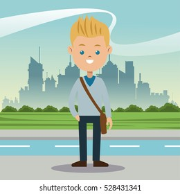 boy blond blue eyes student urban background