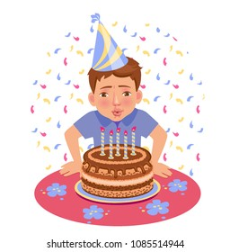 boy blows out candles on the birthday. Happy birthay vector illustration