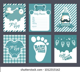 Boy blue baby shower invitation greeting cards