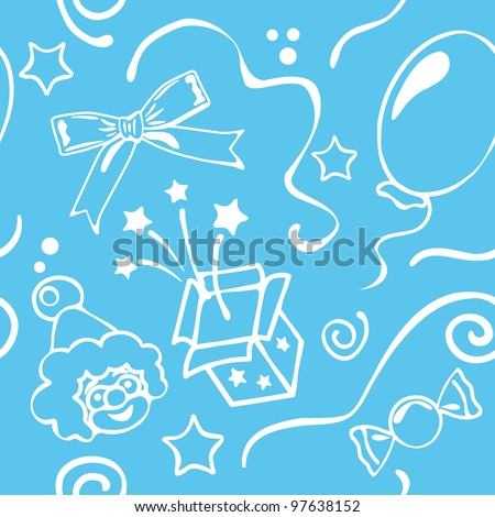 Boy Blue Birthdays Seamless Background Vector Illustration
