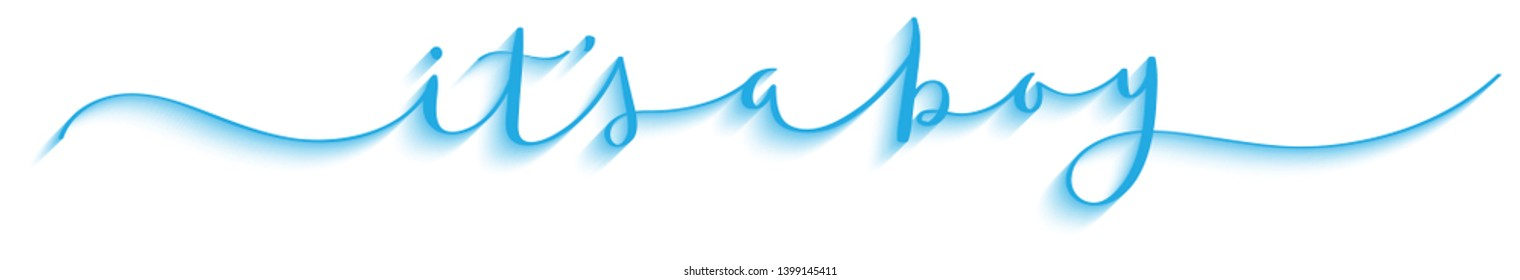 IT'S A BOY blue brush calligraphy banner