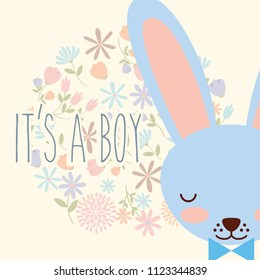 its a boy blue face rabbit with bow flowers