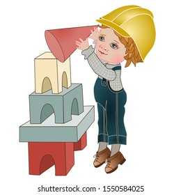 a boy in a blue jumpsuit and a yellow construction helmet builds a pyramid of  blocks, color clip art on a white isolated background