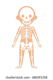 Boy body anatomy with skeleton system. Health medical icon, internal organs, human body physiology isolated on white background vector illustration.