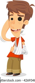 boy with broken arm in a cast cartoon illustration