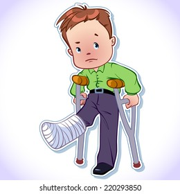 The boy with a broken leg in a cast