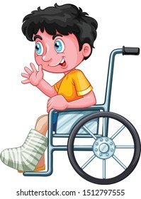 boy broken leg wheelchair cartoon vector art and illustration