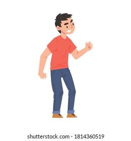 Boy Bullying and Mocking at Someone, Hoodlum Child, Bad Child Behavior Cartoon Style Vector Illustration